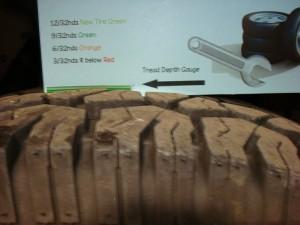 Measuring tread depth on newer tire