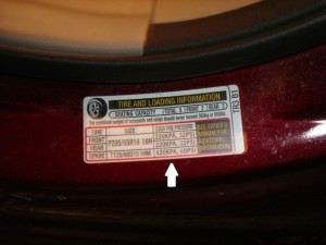 Recommended tire pressure label