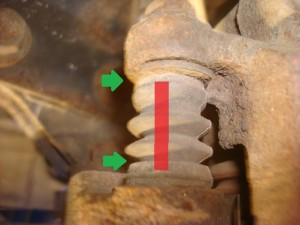 Green arrows and red line indicate the area of which the caliper pin should move. The caliper pin travels underneath the boot.