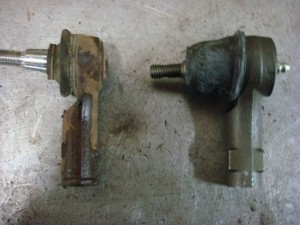 Old tie rod on left new tie rod  end on right