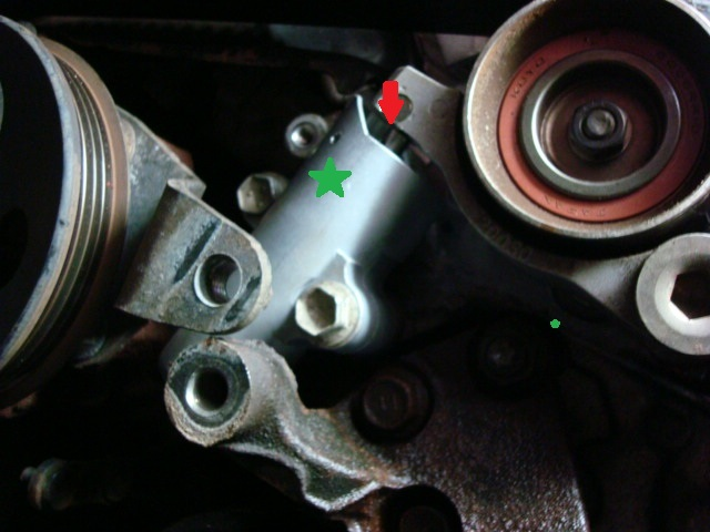 Green Star Shows The Tensioner Housing. Red Arrow Shows Point Of Contact  Pressure.