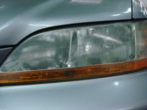 Left headlamp lens cleaned with tooth paste
