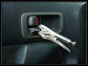 Vise grips used as an inside door handle. you just gotta love it!