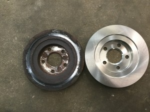 Old brake rotor on left new brake rotor on right