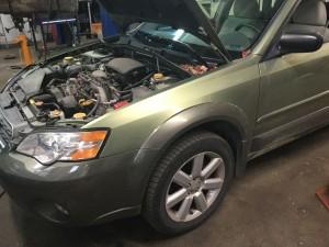 Subaru in for service