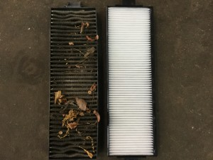 Dirty cabin filter on left new filter on right.